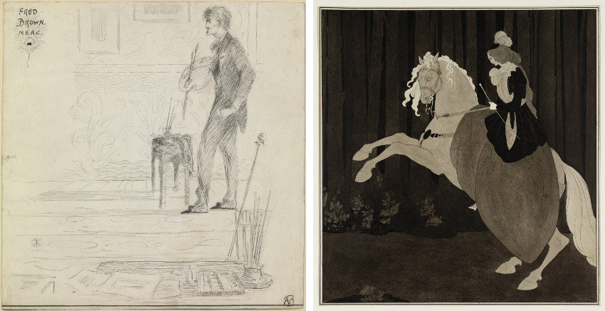 Aubrey Beardsley - Professor Fred Brown, 1892 (Left) - Frontispiece to Chopin's Third Ballade, 1895 (Right), images via tateorguk, page, new, english, style, century, 1893