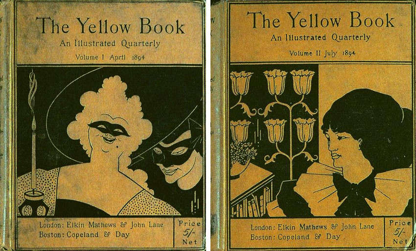 Aubrey Beardsley - The Cover of the Book, Volume I, 1894 (Left) - The Cover of the Book, Volume II, 1894 (Right), images via wikiartorg