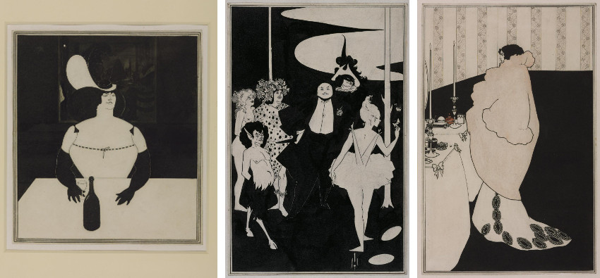Aubrey Beardsley - The Fat Woman, 1894 (Left) - Design for the Frontispiece to John Davidson's Plays, 1894 (Center) - La Dame aux Camelias, 1894 (Right), images via tateorguk, page, english, new