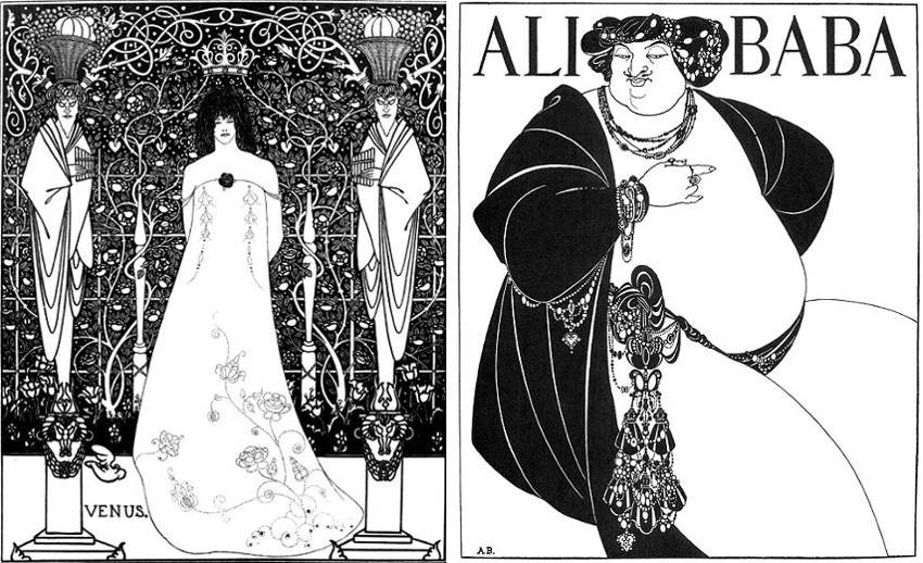 Aubrey Beardsley - Venus between Terminal Gods, 1895 (Left) - The Cover of One Thousand Nights, 1897 (Right), images via wikipediaorg, salome, new, drawings, english, page style century 1893