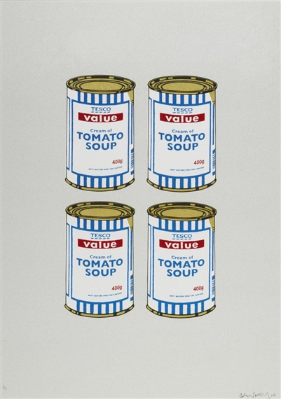 Banksy-4 Soup Cans, Gold on Grey-2006