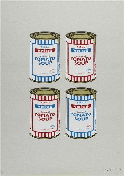 Banksy-4 Soup Cans, Red and Blue on Grey-2006