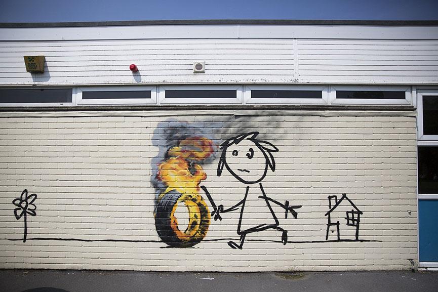 Banksy mural at bristol school widewalls for Banksy mural painted over