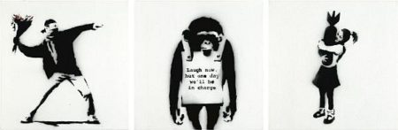 Banksy-Flower Thrower, Laugh Now Monkey, Bomb Hugger-2002