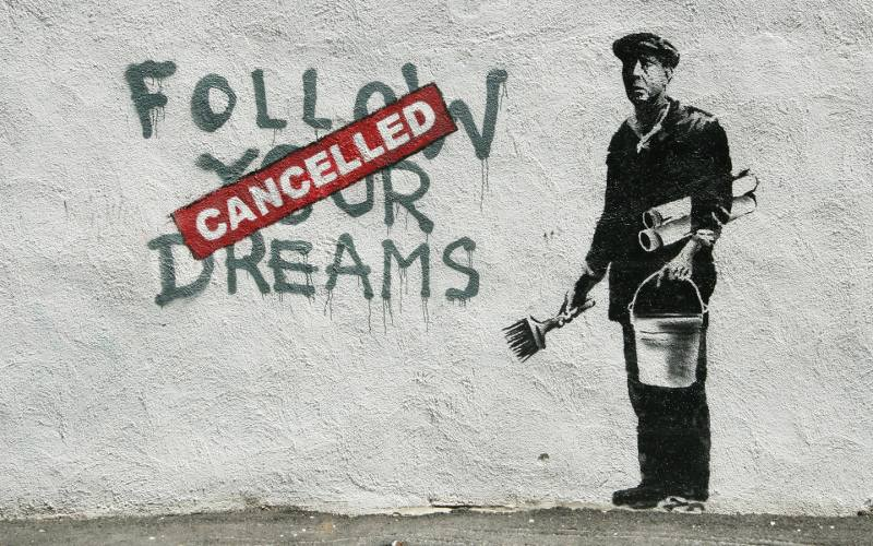 banksys Follow Your Dreams – Cancelled terms church 2010 auction sign