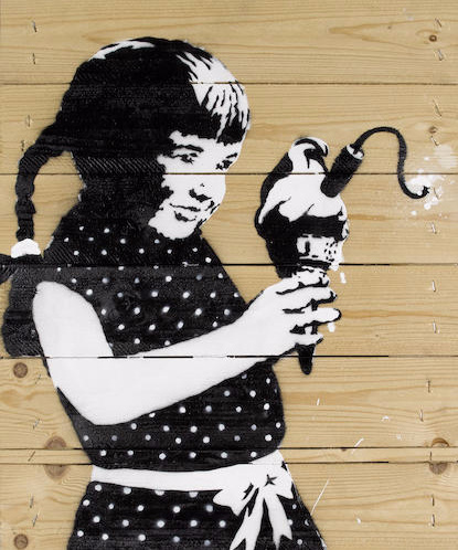 Banksy-Girl Holding Ice Cream Bomb-2004
