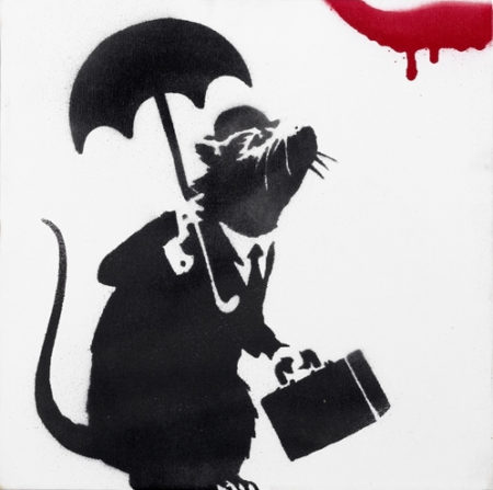 Banksy-Rat with Umbrella-2004