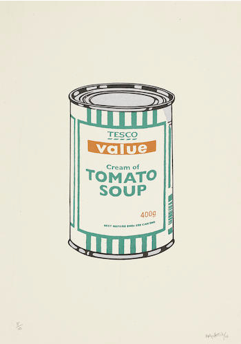 Banksy-Soup Can (White, Emerald, Tan)-2005