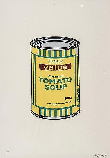 Banksy-Soup Can (Yellow, Emerald, Brown)-2008