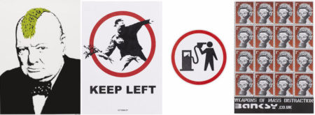 Banksy-Turf War, Keep Left, Petrol Head, Weapons of Mass Distraction-2003