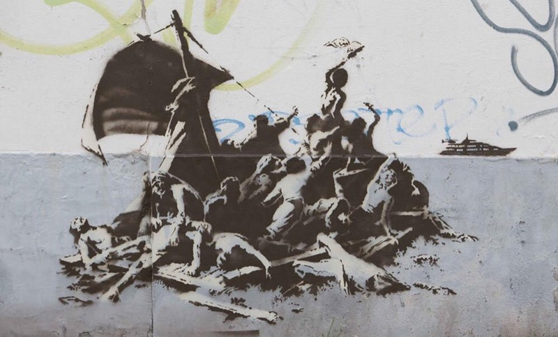 Banksy – We re not all in the same boat, Calais, 2015 black use privacy canvas home related