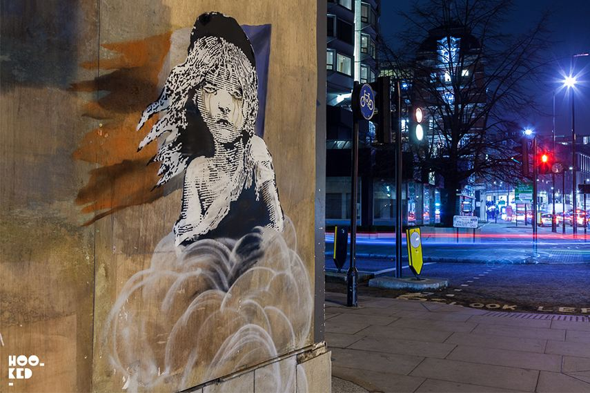 Banksy's Cosette stencil in London, image via hookedblog
