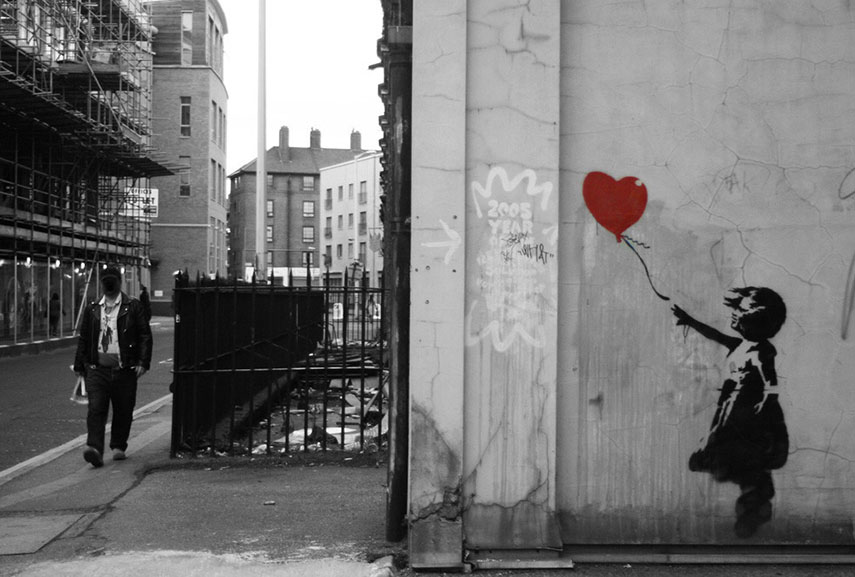 Banksy's Girl with Balloon on Vestry Street