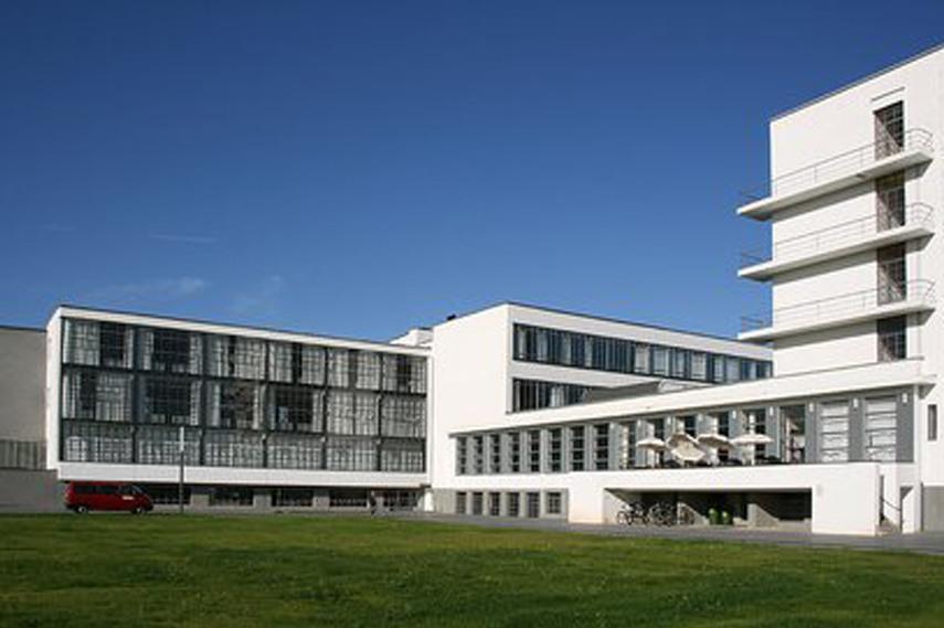 Bauhaus building in Dessau by Walter Gropius via Bauhaus-dessau com