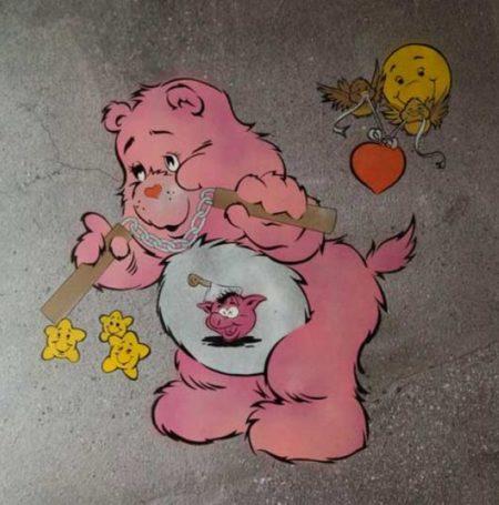 Ben Eine-Scare Bear (Pink)-