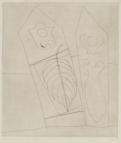 Ben Nicholson-Turkish Forms with Leaf from Greek and Turkish Forms Portfolio-1967