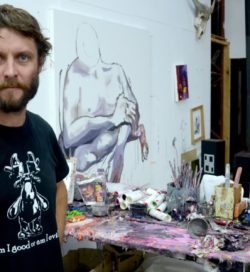 Ben Quilty - Photo of the artist in his home - Image via janmurphygallerycomau