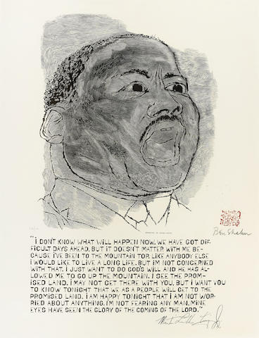 Ben Shahn-Martin Luther King; Flowering Brushes-1968