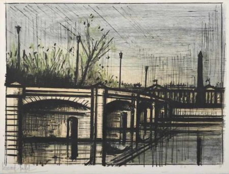 Bernard Buffet-Le Pont de la Concorde pl. 9 from Album Paris-1962