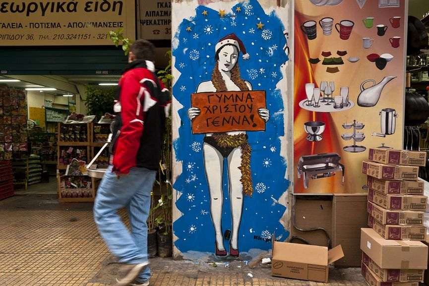 the christmas street art in greece