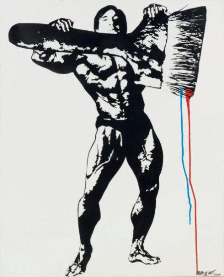 Blek le Rat-Self portrait as a body builder holding a giant paint brush-2007