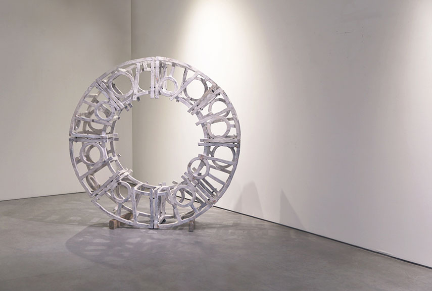 to make his abstract sculpture and installation, brandon reese uses stoneware ceramic clay and ivory