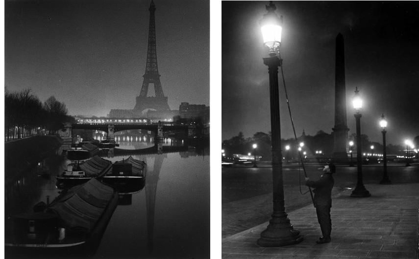 Brassai - The Eiffel Tower at Twilight, 1932 (Left) --- Lamplighter (Right) - Brassaï photographs of the city are pieces of arts both for a photographer and a published book