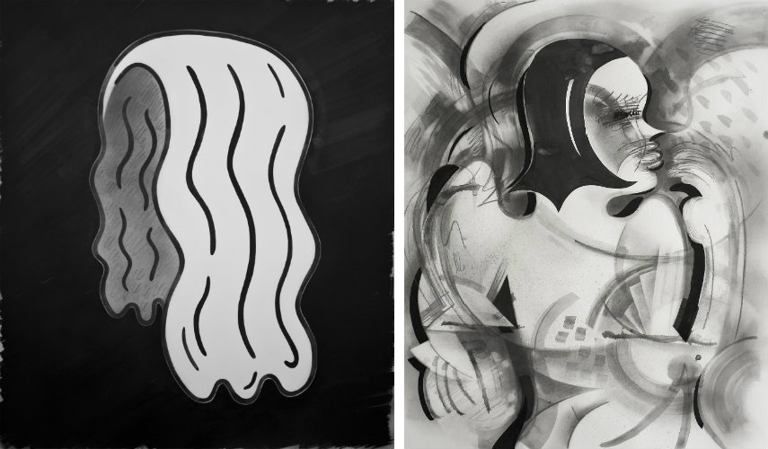 Brian Scott Campbell - Self-Portrait (Left) - Lady With Wig, 2015 (Right)