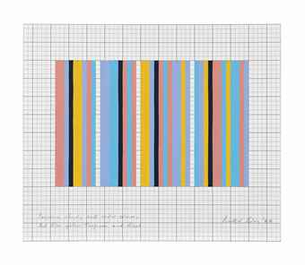 Bridget Riley-Sequence Study with Wider Colours: Red, Blue, Yellow, Turquoise and Black-1982