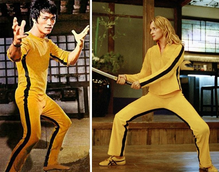 Bruce Lee and Uma Thurman in Yellow Jumpsuits - image via missdeestylecom
