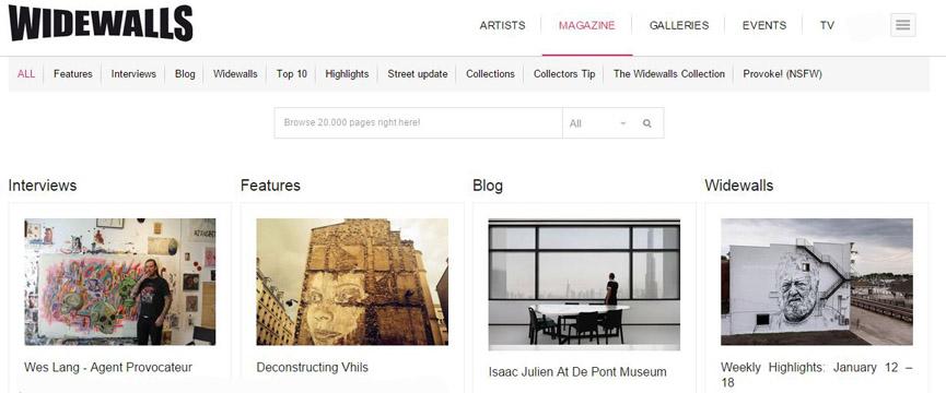 Widewalls website, screenshot