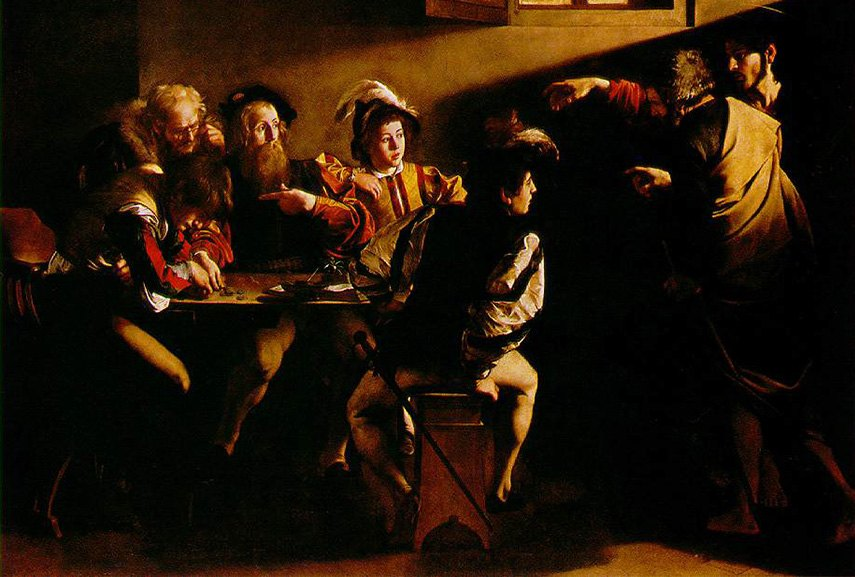 Caravaggio - Calling of Saint Mathew, detail, one of the most memorable scenes in genre works