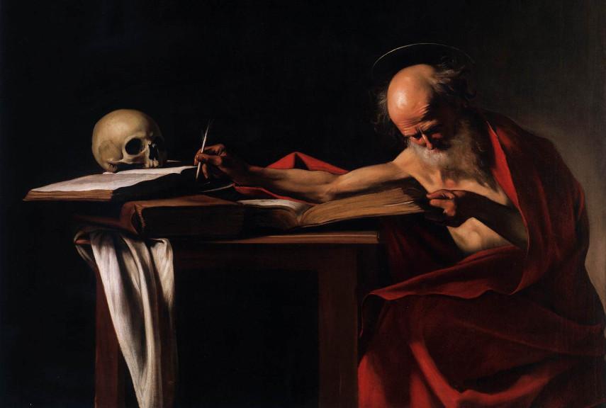 Caravaggio - Saint Jerome Writing - Image via john paintings
