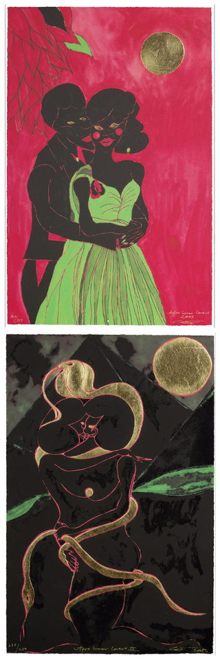 Chris Ofili-Afro Lunar Lovers I and II-2005