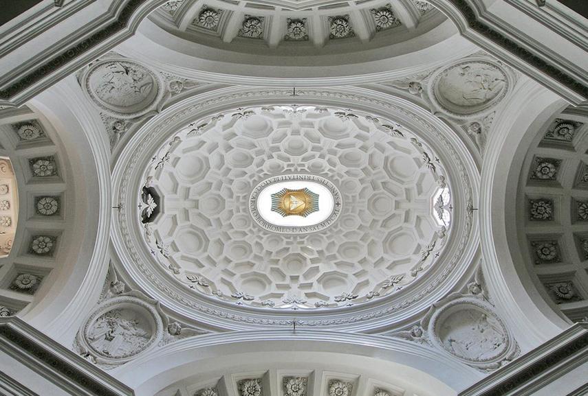 the architecture of Church of San Carlo alle Quattro Fontane - Dome, interior (great baroque buildings in Rome)