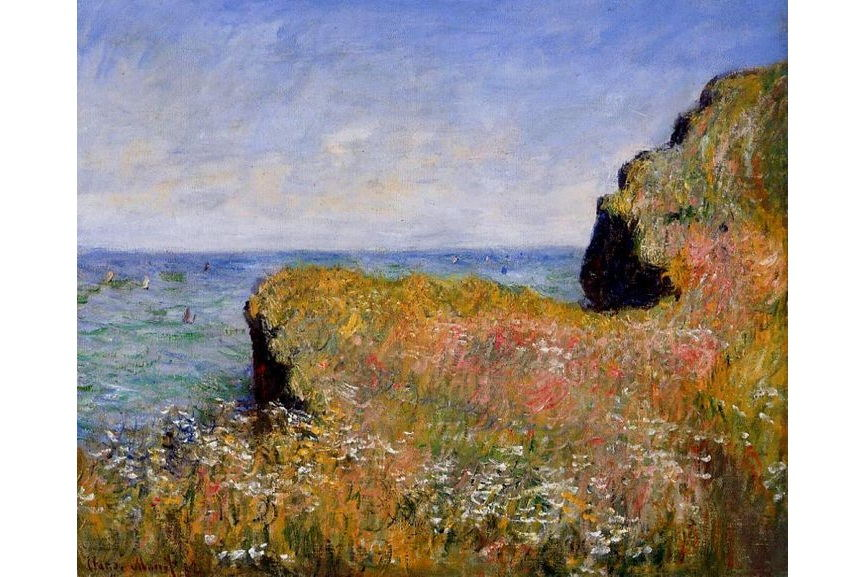 scenery home original white digital video view canvas sunset print page oil design Claude Monet Edge of the Cliff, Pourville