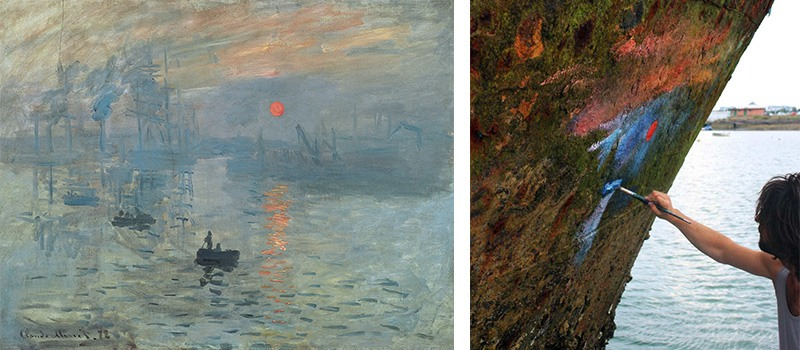 Claude Monet's Impression, Sunrise (1872) and Pejac's Painting on the Boat, mural in france