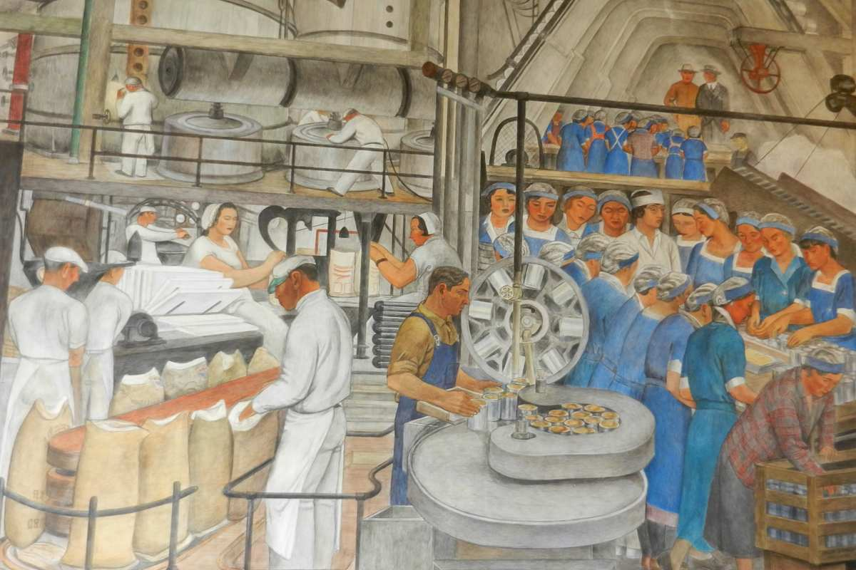 Mike alewitz the city at the crossroads of history mural for Coit tower mural artists