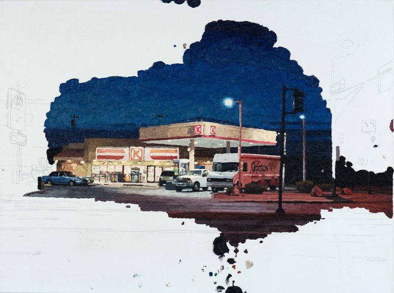 Colin Chillag - Circle K Dawn, 2014. Oil on canvas, 18x24 in.