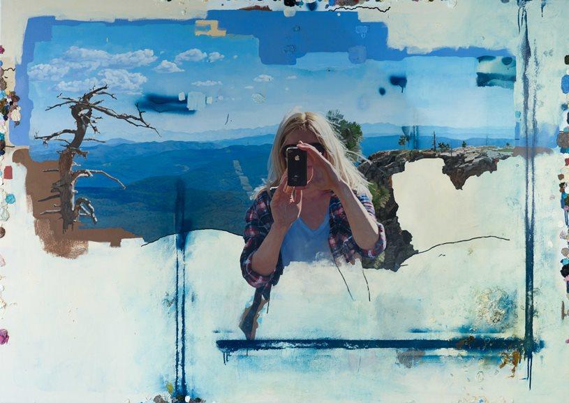 Colin Chillag - Portrait of Jenna Taking a Self Portrait, 2014. Oil on canvas 54x76 1/8 in.
