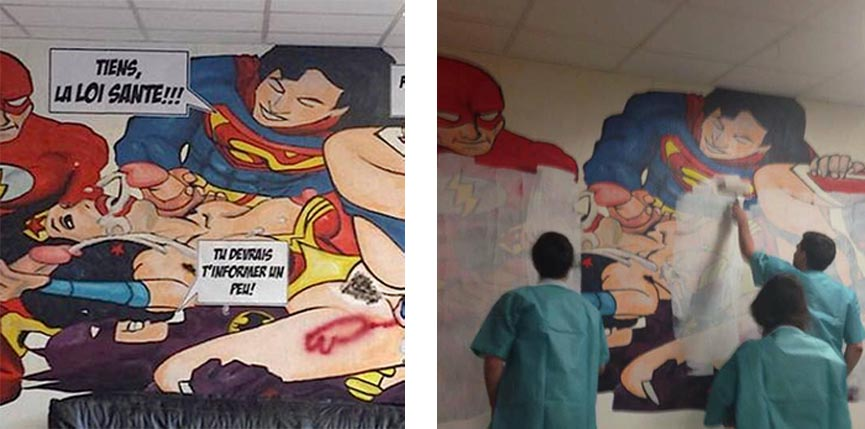 Controversial mural at Clermont-Ferrand hospital before and after