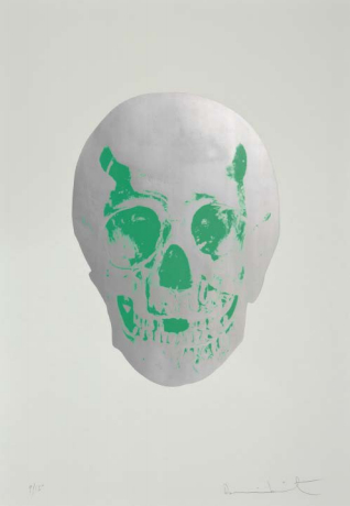 Damien Hirst-Gunmetal & Lime Green Skull, The Dead-2009