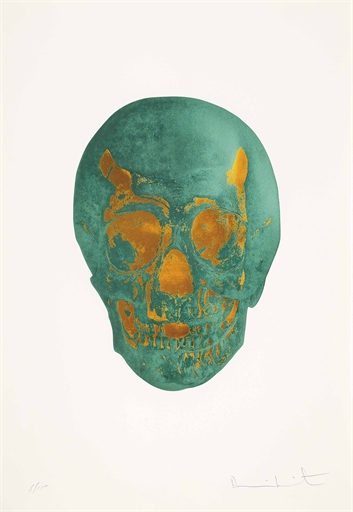 Damien Hirst-Racing Green Island Copper Skull, The Dead-2009