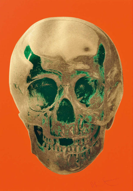 Damien Hirst-Till Death Do Us Part (Time Bright Orange African Gold Emerald Green Pop Up Skull)-2012