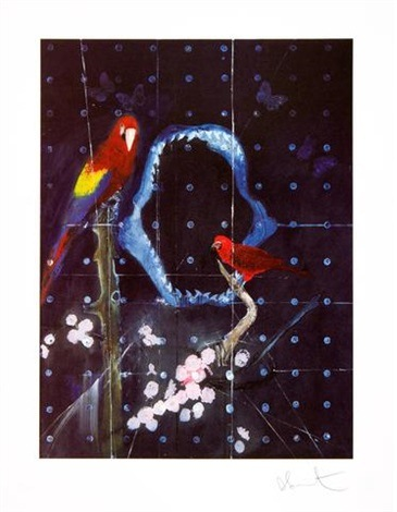 Damien Hirst-Two Weeks One Summer, Red Bird and Parrot with Shark Jaw-2009