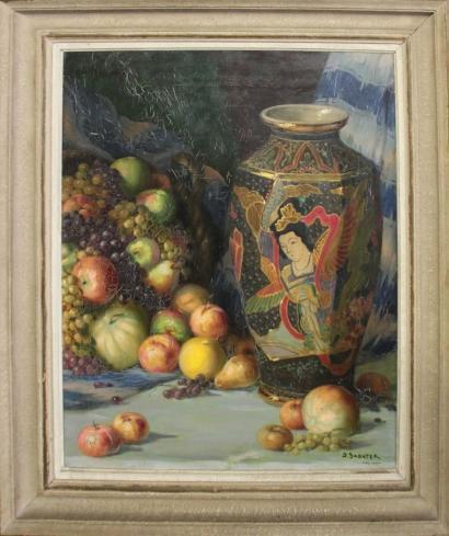 Daniel Sabater Y Salabert-Nature morte au vase et aux fruits-1937