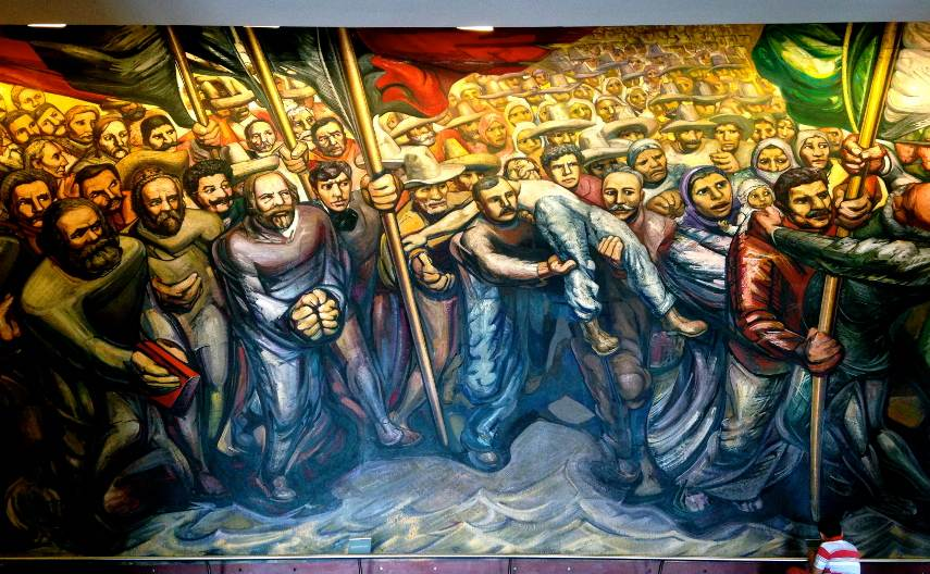 Painter Diego Orozco and San Carlos from New Mexico work with political modern mural works