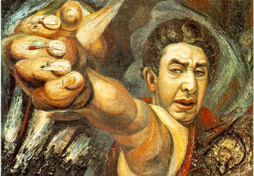 David Alfaro Siqueiros - Self Portrait Works, Mexico, 1945 - Image via New York Page