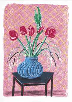 David Hockney-Amaryllis in Vase, from: Moving Focus-1985