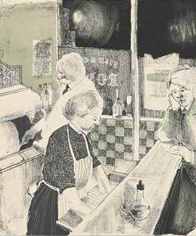 David Hockney-Fish and Chip Shop-1954